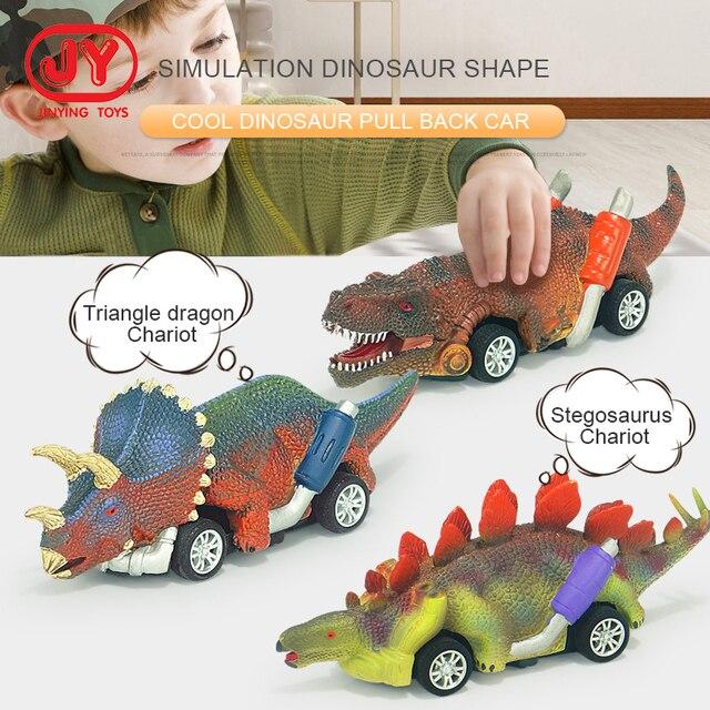 6 Pcs Pull Back Dinosaur Cars Roadster Party Favors Race Go-Kart Sports Games Kids Toys 1
