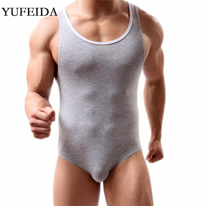 YUFEIDA Slim Men's Undershirts Bodysuits Leotard Wrestling Singlet Boxer Briefs Mens Underwear Bulge Pouch Fitness Jumpsuits