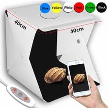 Anordsem 2 LED Folding Lightbox 40*40 Portable Photography Photo Studio Softbox Adjustable Brightness Light Box For DSLR Camera