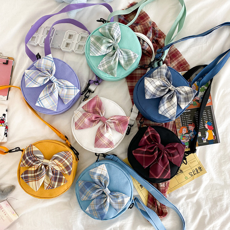Youth Girls Shoulder Bags Big Bow Canvas Circular Bags for Teenagers 2020 New Cute Candy Color Crossbody Shopping Phone Bag