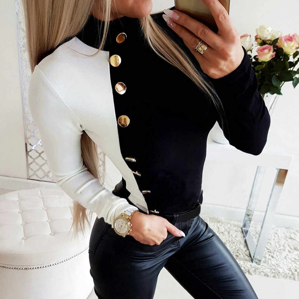 Bluz kadınlar artı boyutu şifon bluz kadın gömlek Patchwork kadın renk bloğu uzun kollu yüksek yaka düğmesi gömlek bluz #3