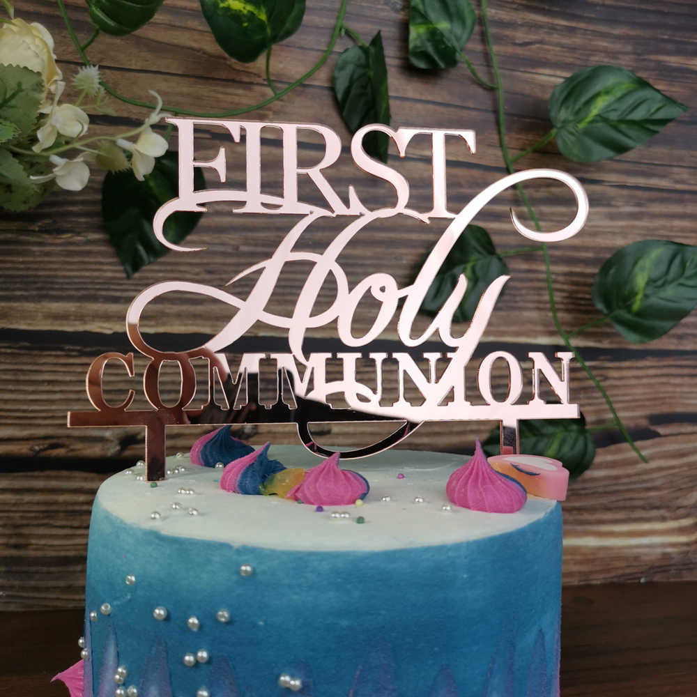 Strange First Holy Communion Color Rose Gold Cake Topper Religious Baby Funny Birthday Cards Online Inifodamsfinfo