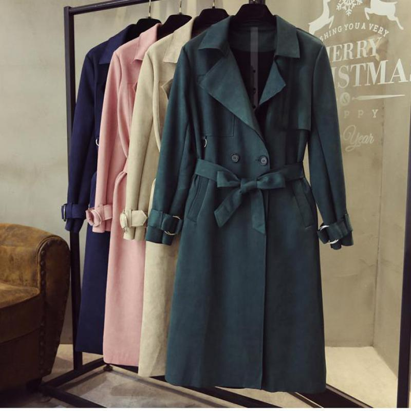 Turn Down Collar Sash Suede Long Trench Coat 1