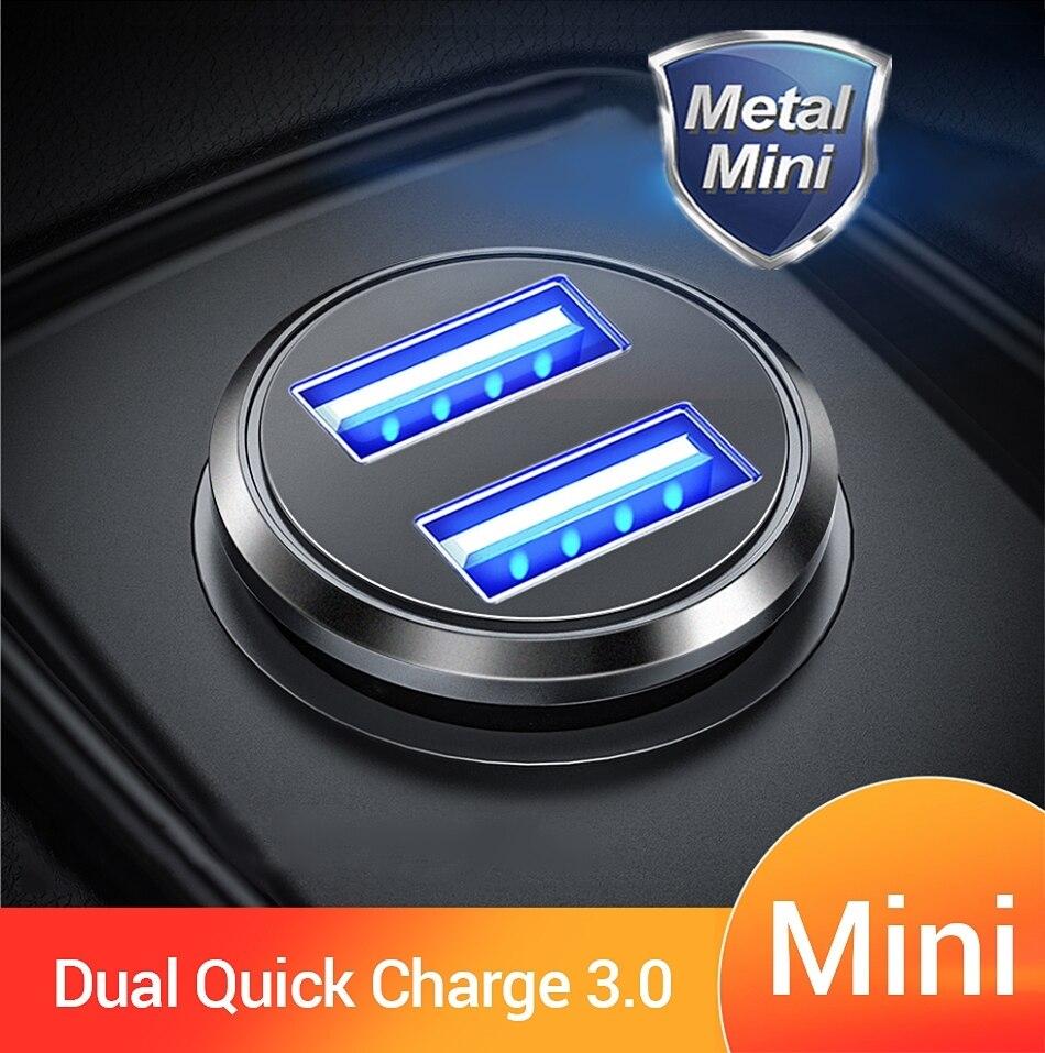 36 Вт QC 3,0 Автомобильное зарядное устройство с двумя usb-портами для быстрой зарядки, автомобильное мини-зарядное устройство для iPhone, Samsung, Huawei, ...