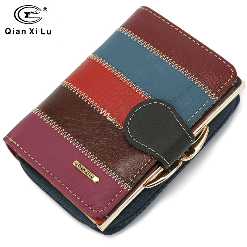 2018 New Brand Design 100% Real Leather Wallets Women Zipper&Hasp Coin Purses Female Vintage Wallet Short Wallets
