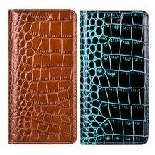 Funda de teléfono plegable de piel auténtica de cocodrilo de lujo para LG G6 G7 V30 V40, Funda de negocios para LG X Power 2 3 XPower
