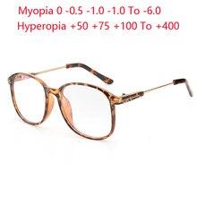 Gafas de dioptrías de gran tamaño para hombre y mujer, anteojos de sol con montura de leopardo, graduadas, redondas, cortas, gafas de vista, Myopes, Lunettes, 0-0,5-0,75 To-6,0