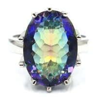 18x13 мм 7,0 # красивый большой овальный драгоценный камень огненная Радуга Мистик Топаз CZ подарок серебряное кольцо