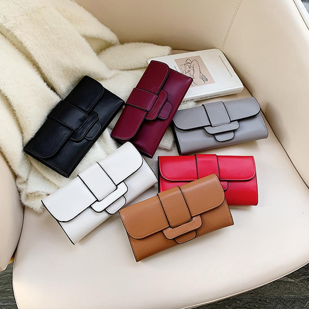 2020 Fashion Womens Wallets Multi-Slots Purses Black White Gray Red Long Section Clutch Wallet Soft PU Leather Money Bag