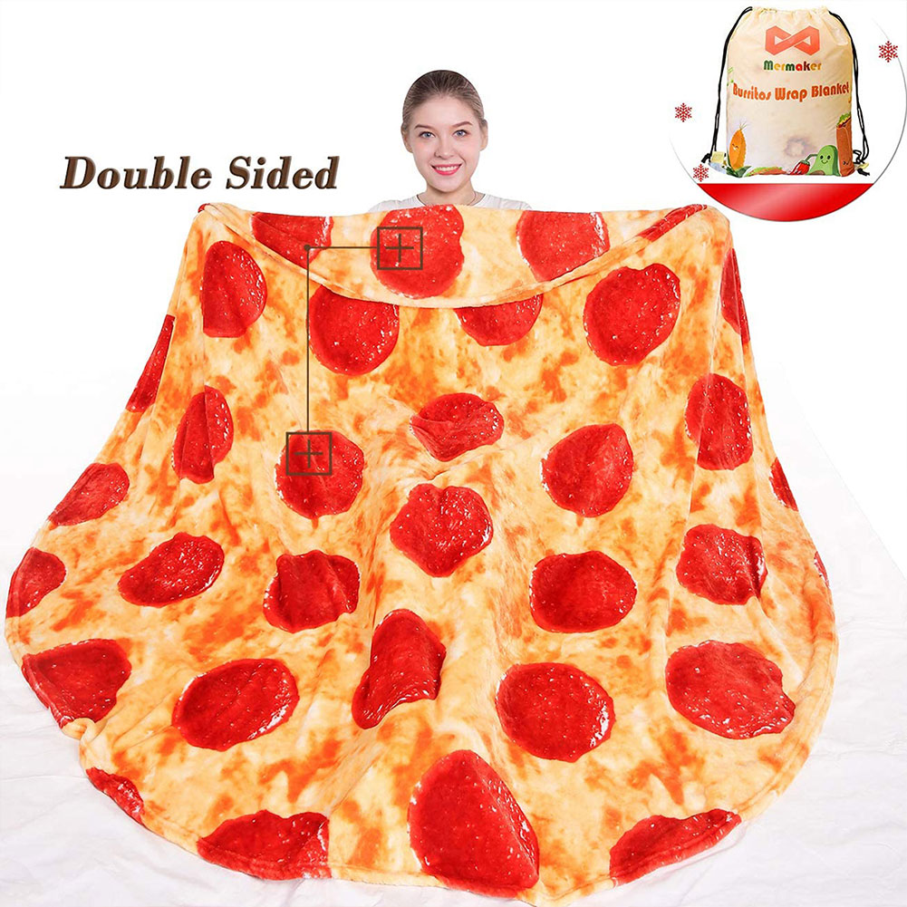Pizza Throw Blanket Novelty Funny Food Blankets Soft Flannel Burrito Wrap Blanket For Adults And Kids