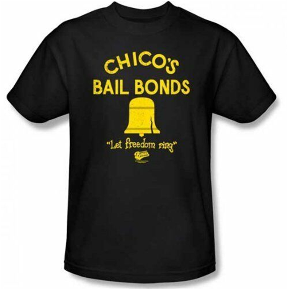 Mens Black Comedy Movie Bad News Bears Chico's Bail Bonds Freedom Ring T-Shirt Tops Tee Shirt Fashion Classic Style image