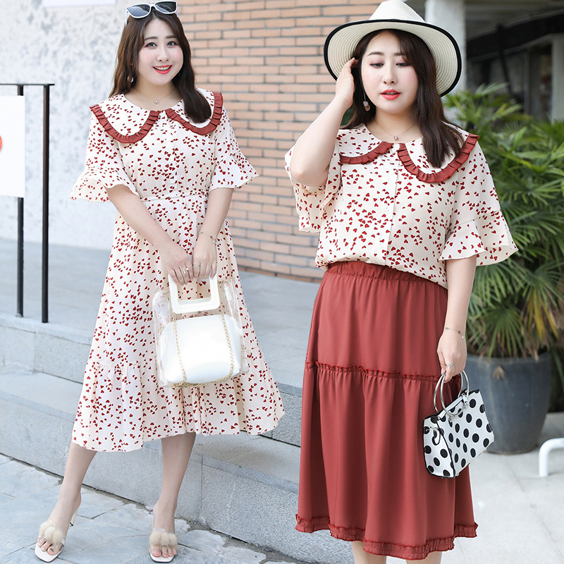 2019 Summer Wear New Style Fat Mm Large Size Dress France Non-mainstream Fairy Skirt Best Friend Sisters Outfit Full Body Dress