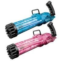 Pistola de burbujas Gatling de 21 agujeros, nuevo diseño, máquina sopladora para crear burbujas para niños, pistola de burbujas con jabón, juguete de baño de verano