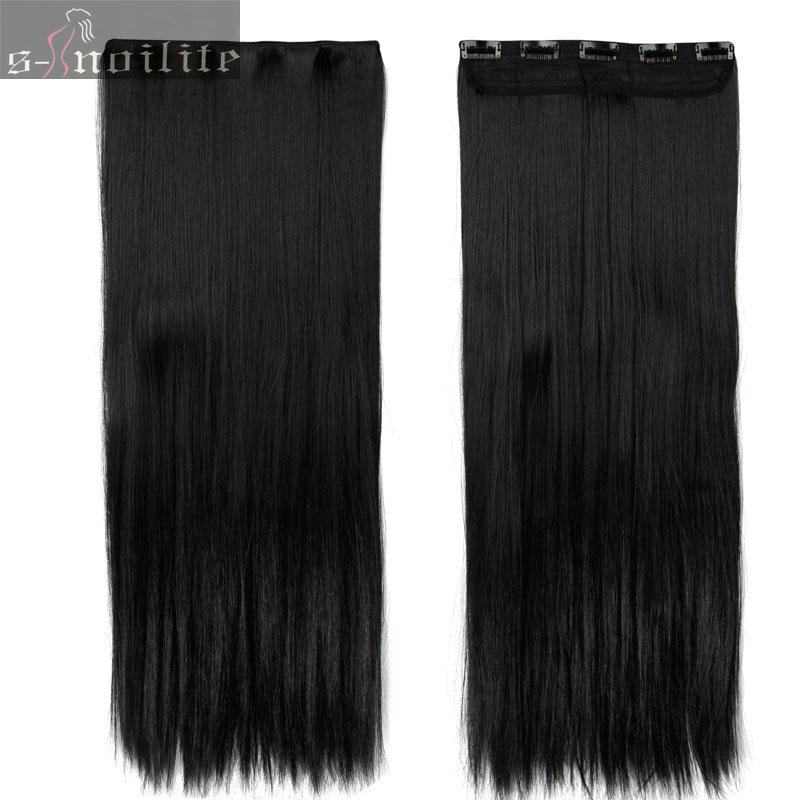 S-noilite, накладные волосы на заколках, черный, коричневый, натуральные, прямые, 58-76 см, длинные, высокая температура, синтетические волосы для наращивания, шиньон - Цвет: dark black