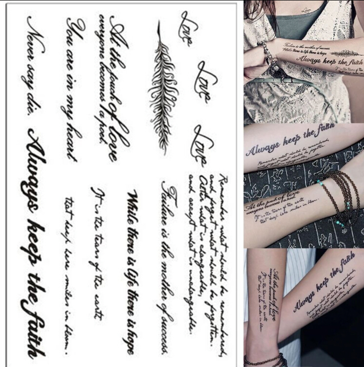 1PC Tattoo English Word Removable Waterproof Temporary Tattoo High Quality Body Art Tattoos Sticker