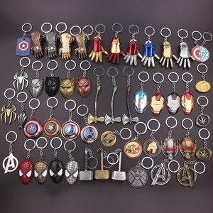 2019 Fashion Marvel The Avengers Thor's Hammer Mjolnir Keychain Captain America Shield Hulk Batman Mask Key Chain Bag Keyrings(China)