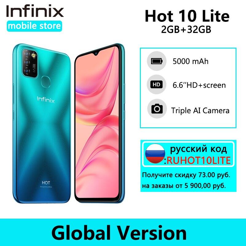 הגלובלי גרסה Infinix חם 10 לייט 2GB 32GB חכם טלפון 6.6 'HD 1600*720P 5000mAh סוללה Helio A20 13MP מצלמה