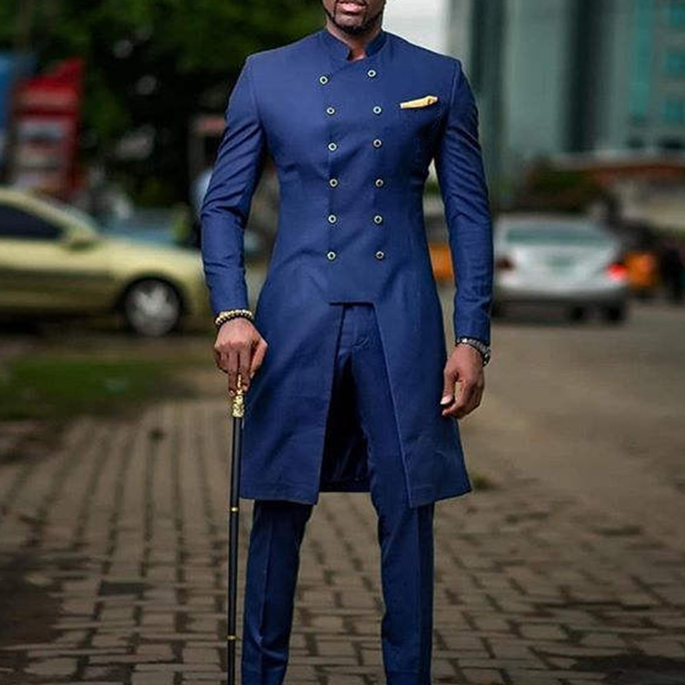Leisure Suit Men Plus Size 3XL Solid Blue Elegant Office Double Breasted Mid-Length Long Business  Wedding Groom Leisure Suits