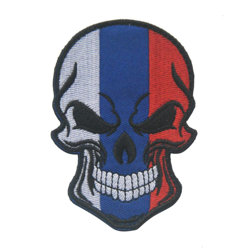 1 PC Embroidery Patch Matte Isomorphism Velcro Skull National Flag  Cartoon Skull Cloth Patch Magic Stickers