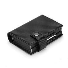 Bycobecy Metal Card Holder Credit Case Women Men ID Side Push Double Wallet Aluminium with RFID Blocking