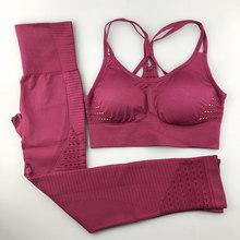 Sem costura conjunto de yoga feminino roupas de fitness roupas esportivas mulher ginásio leggings acolchoado push-up strappy sutiã esportivo 2 pcs ternos esportivos