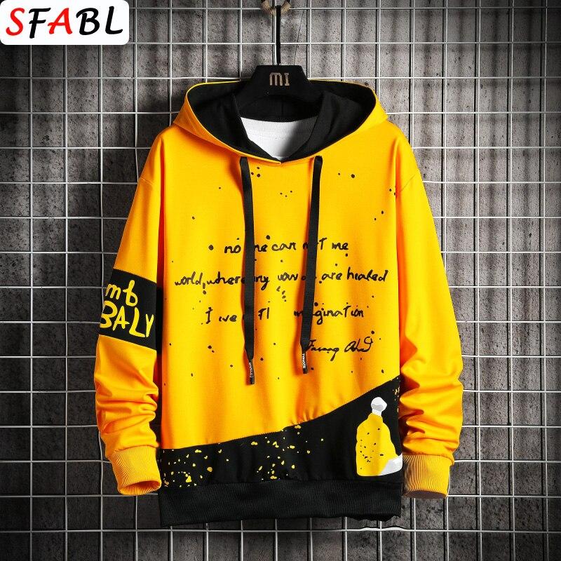 SFABL Harajuku Hoodie Sweatshirt Men 2021 New Hip Hop Streetwear Male Fashion Patchwork Hoodies Pullover Colorful Sweatshirt Man
