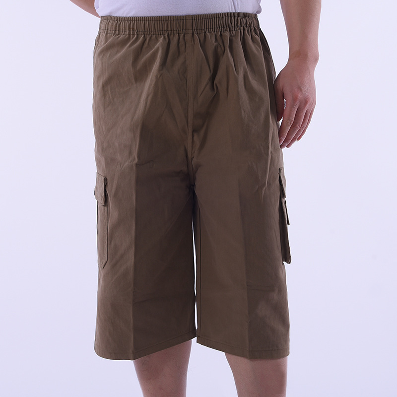 Summer Middle-aged Cropped Trousers For Men Stereo Pocket Bib Overall Dad Shorts Cotton Middle-aged Thin Shorts
