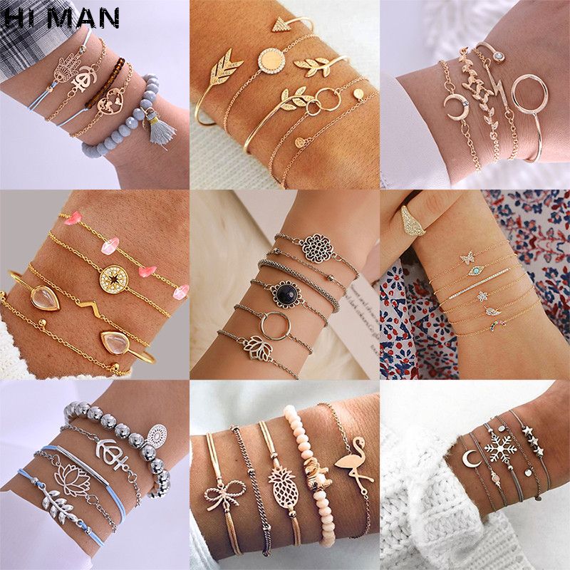 31 Style Boho Heart Initial Letters Infinity Evil Eyes Shell Crystal Beads Charm Jewelry Women Bracelets Fashion Tassel Links