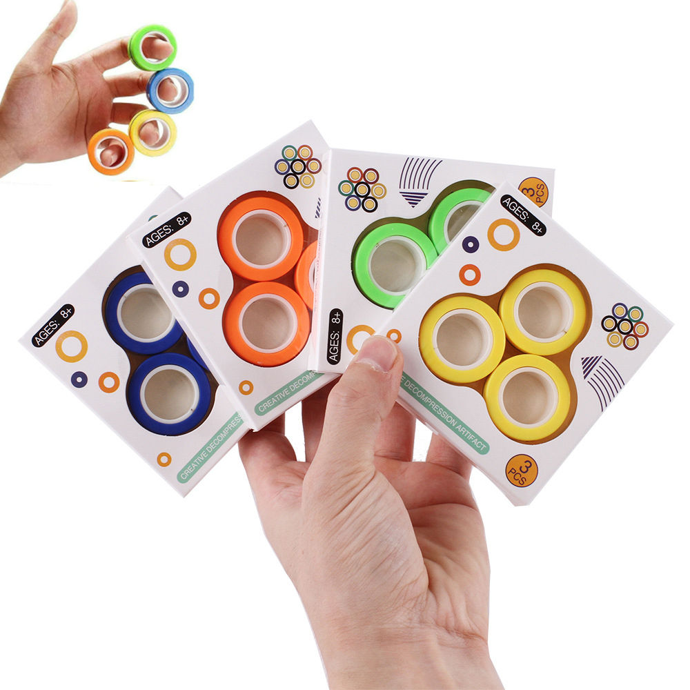 3pc Fidget Toys Magnetic Bracelet Ring Unzip Toy Magic Ring Props Tools Anti Stress Figet Toys Stress Child