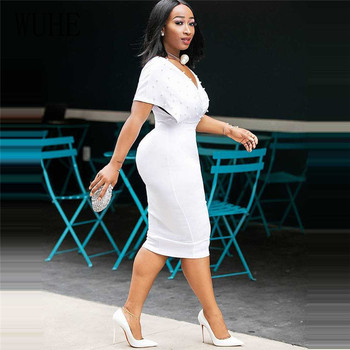 WUHE Plus Size 3XLFashion Slim Dresses for Women V Neck with Bead Classy Ladies Work Office Wear Bodycon Elegant Femme Clothes 2