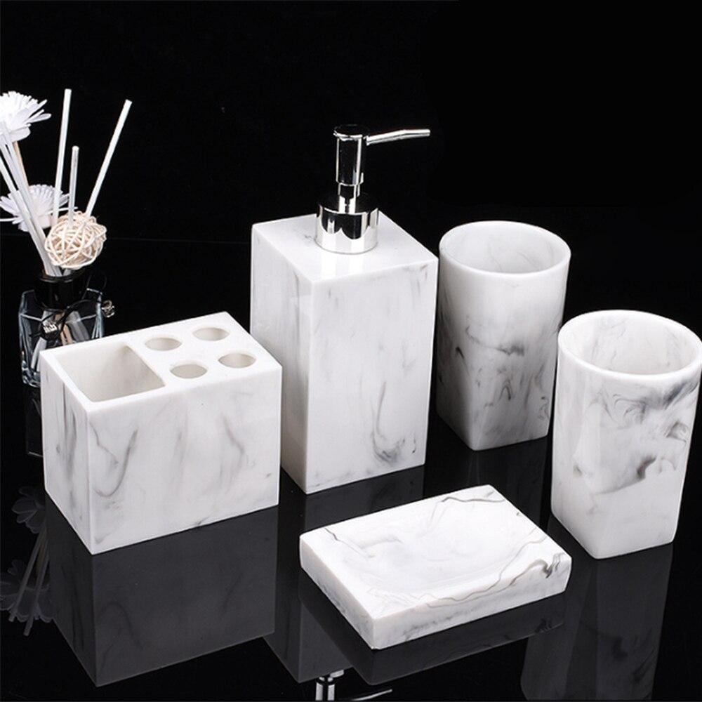 5 pièces/ensemble accessoires de salle de bain en résine ensemble marbre Texture porte-brosse à dents distributeur de savon liquide porte-savon gobelets pour la famille