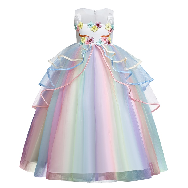Rainbow Unicorn Cosplay Girl Dress Party Elegant Flower Lace Long Tutu Formal Ball Gown Princess Baby Dresses 5 7 8 12 14 Years 6