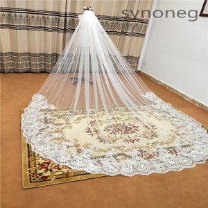 Image 2 - Real Photo Romantic 3 M Wedding Veil Cathedral One Layer Lace Appliqued Long Bridal Veils With Comb Woman Marry Gifts
