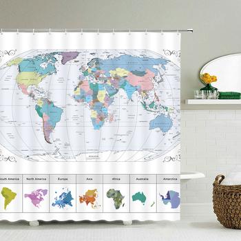 Wodoodporna mapa świata łazienka zasłona prysznicowa bardzo długa 180*200 Cm 3D zasłona prysznicowa Home Set zasłona prysznicowa zasłona prysznicowa tanie i dobre opinie CN (pochodzenie) POLIESTER Nowoczesne GEOMETRIC Shower Curtain Ekologiczne
