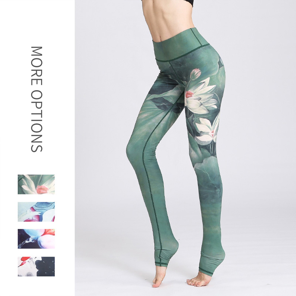 Women Fitness Yoga Pants unique Printed High waist Slim trousers Elastic Compression Tights Hip Sexy Wokout Trainning Wear(China)