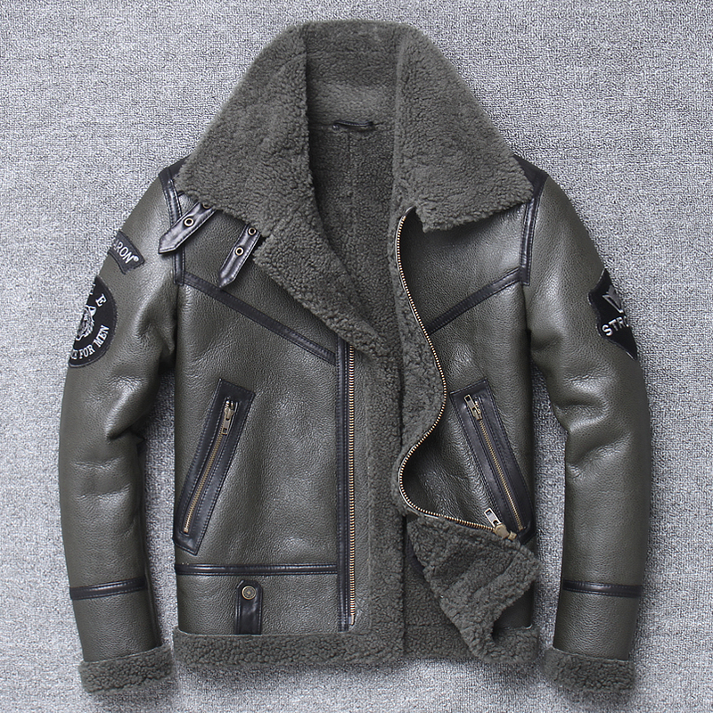 H7e06cc8cbf5b4f42ba16280bf5b483327 Free shipping,Winter natural Sheepskin thick fur coat,classic wool Shearling,warm genuine leather jacket,mens plus size outwear