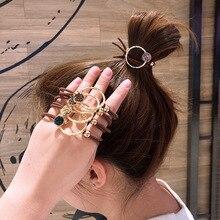 Эластичная резинка в корейском ретро-стиле для женщин, элегантная завязка для конского хвоста с кристаллами, женские резинки для волос, акс...