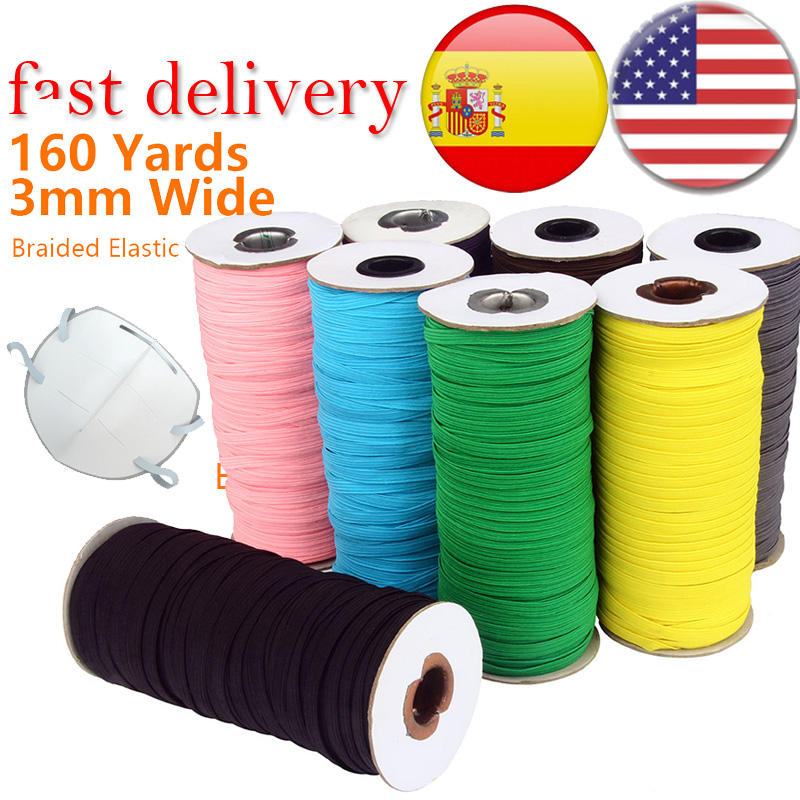 200 Yards Elastic Band For Face Mask Knitted Elastic Craft Sewing Elastic Cord Mask Elastic Band Sewing Stretch Rope