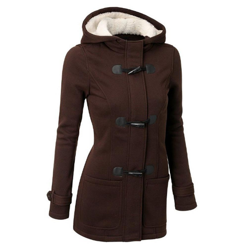 Plus Size Winter Fashion Women Solid Color Horn Buckle Hooded Long Sleeve Coat
