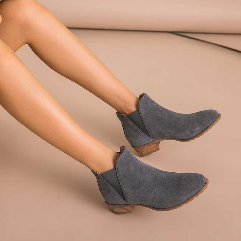 BeauToday Kadınlar Chelsea Çizmeler Sivri Burun Hakiki Deri Inek Süet Ilkbahar Sonbahar Ayak Bileği Elastik Bayanlar Ayakkabı El Yapımı 03215