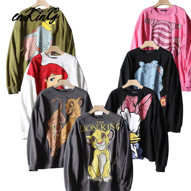 2020  Black Pink Cartoon Lion King Print Women Hoodie Long Sleeve O Neck Ladies Za Sweatshirt Casual Womens Hoodies Pullover