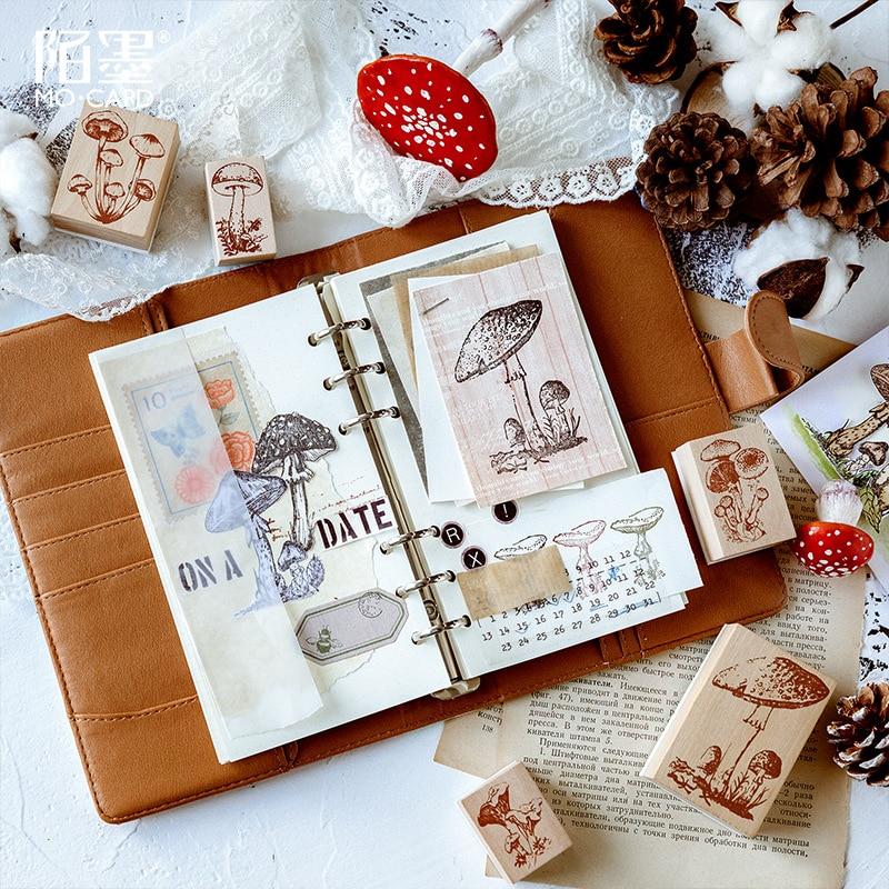 TUNACOCO Mashroom Stamp Set Seal Sighnet Plant Wood Plant Wooden Stamp Bullet Journal DIY Crafts Qt1710139