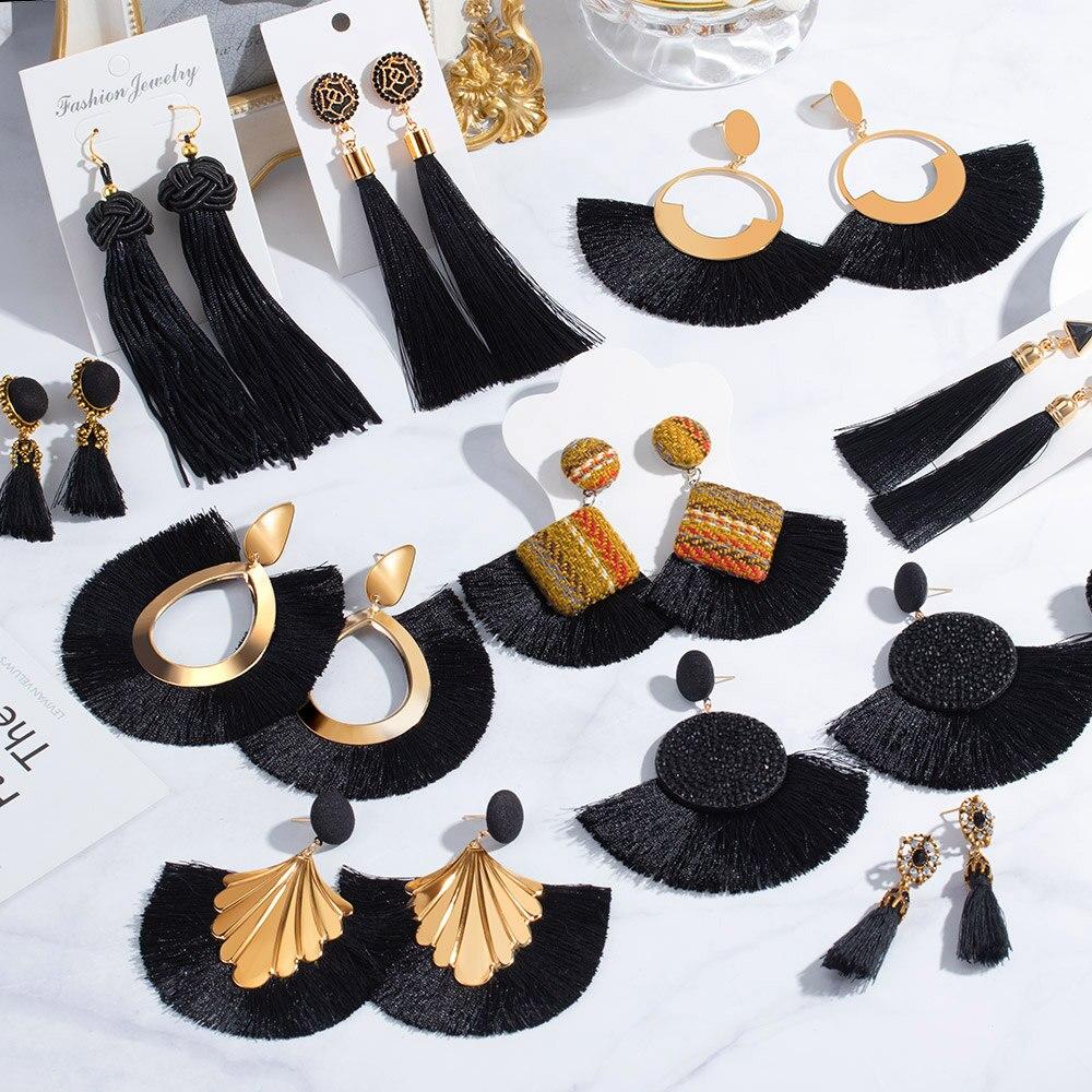 New Fashion Bohemian Big Tassel Drop Earrings 2020 For Women Cotton Silk Fabric Blakc Wedding Dangle Earrings Female Jewelry