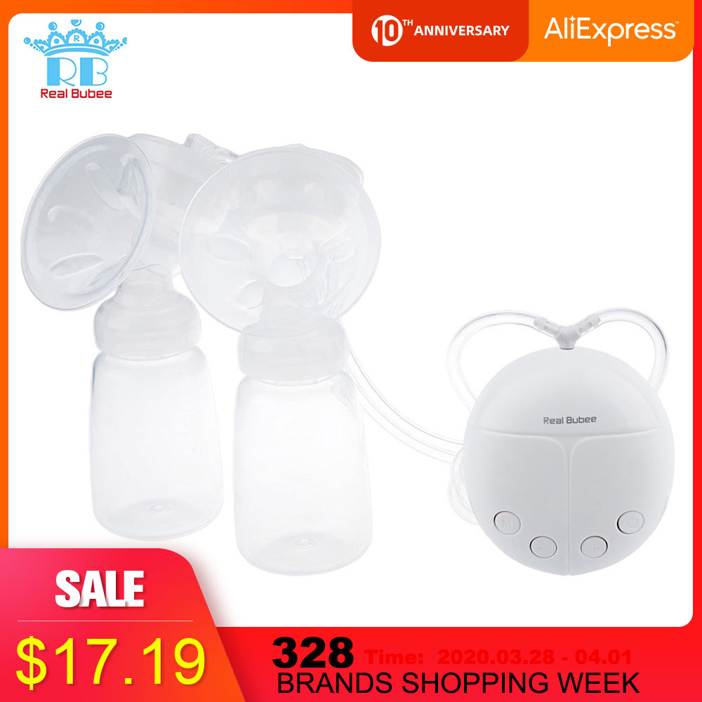 Portable RealBubee Electric Breast Pump USB BPA Free Safety Intelligent Automatic Massage For Mothers Infant Baby Breast Feeding