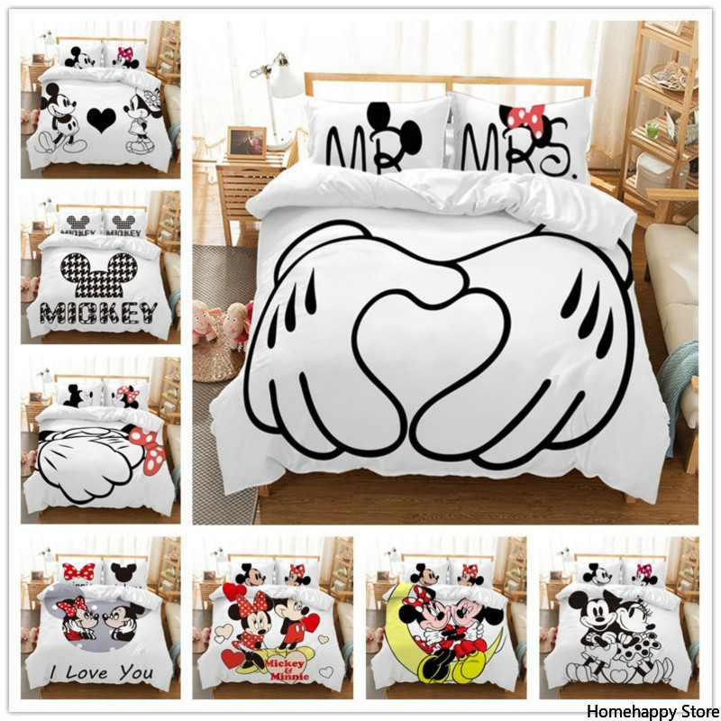 Disney Mickey Minnie Mouse Cartoon Bedding Set Lovely Couple Twin Full  King Single Double  Size Children Duvet Cover PillowCase