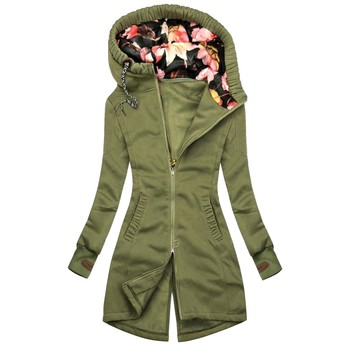 Women Thick Harajuku Sweatshirt Floral Print Jacket Hoodies Zipper Pocket Sweatshirt Long Sleeve Warm Soft Full Coat Ropa Mujer 3