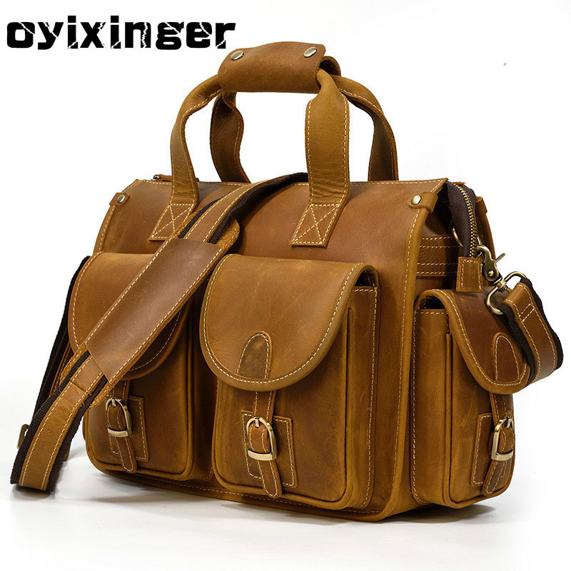 High Quality Genuine Leather Men Handbag Crazy Horse Leather Briefcase Men's Luxury Handbags Designer Large Capacity Laptop Bag