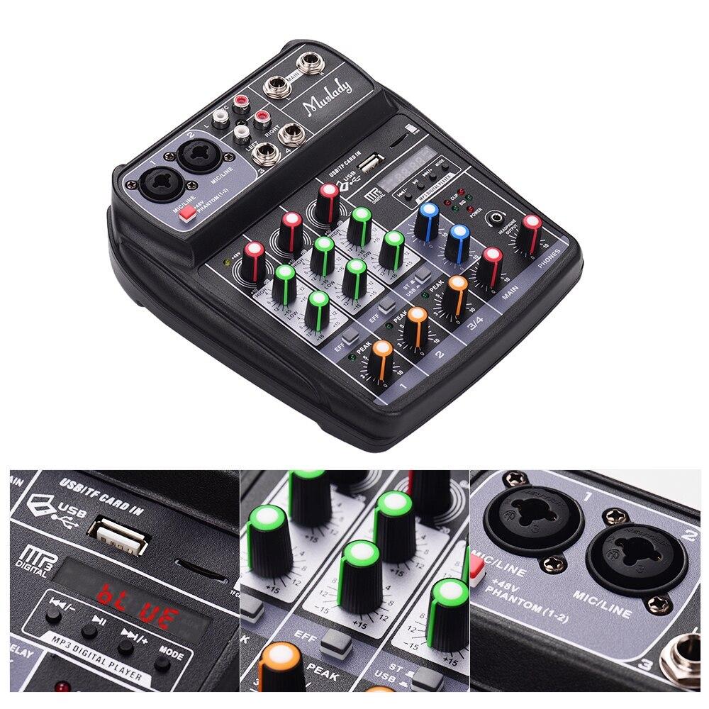 Muslady AI-4 kompaktowy karta dźwiękowa konsoli miksującej, cyfrowy mikser audio 4-kanał BT MP3 wejście USB + 48V zasilanie Phantom dla muzyki
