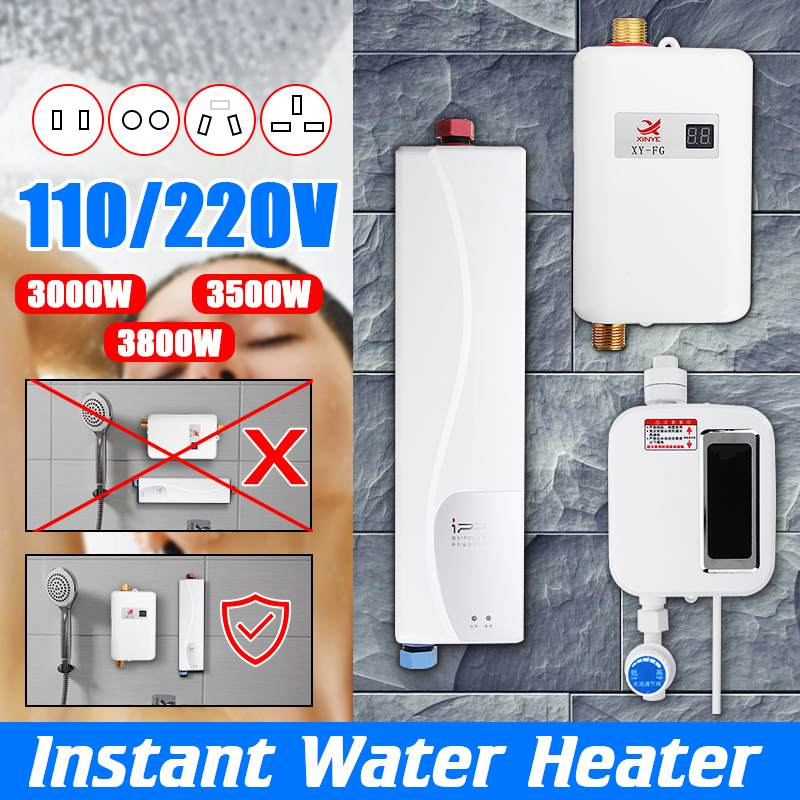 110/220V 3800W Electric Water Heater Bathroom Kitchen Instant Tankless Water Heater Temperature display Heating Shower Universal