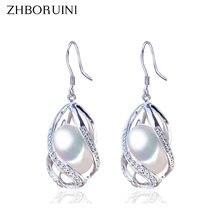 Жемчуг бренда «zhboruini» серьги капли натуральный пресноводный